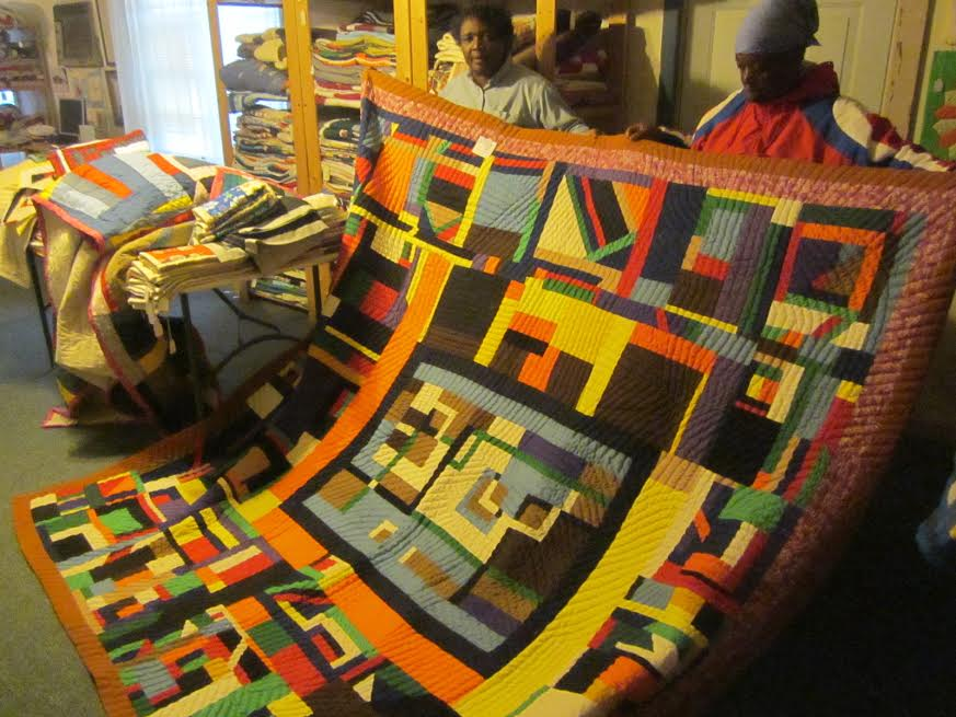 Quilters display their work in their Gee's Bend workshop in Alabama