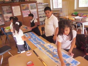 Beardsley School students working on a group project