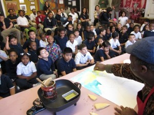Batik presentation in the Roosevelt School Art Gallery Classroom