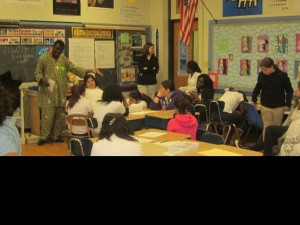 Story telling, writing with Beardsley school students and teachers