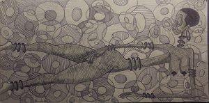 Iyaba Ibo Mandingo Ink Drawing
