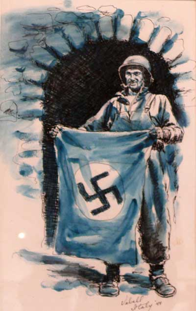 Soldier holding Nazi flag